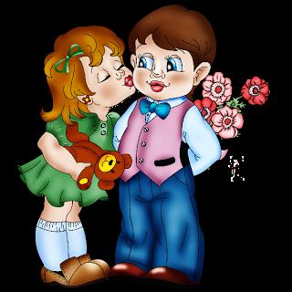 Kisses clipart cartoon funny Valentine Girl And Valentine Boy