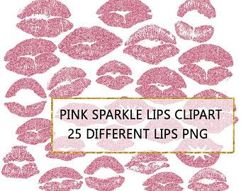 Kisses clipart pink glitter Kissing Glitter art Etsy Pink