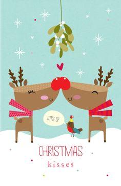 Kisses clipart reindeer Cute animado personagem reindeers Xmas