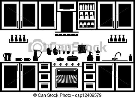 The Kitchen clipart black and white Kitchen Image Icon Vectors Icon