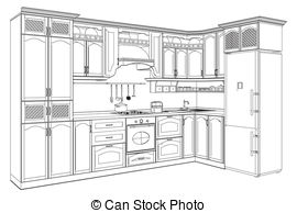 The Kitchen clipart black and white Kitchen 209  Vector and