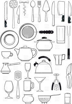 The Kitchen clipart black and white 8 Pans Charming Eiforces Black