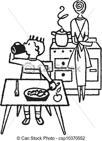 The Kitchen clipart black and white Images dining%20table%20clipart%20black%20and%20white And Panda Cooking