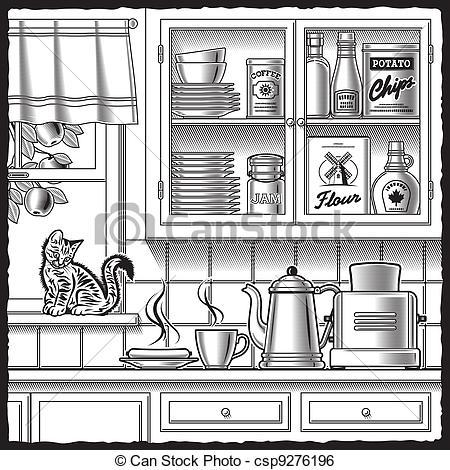 The Kitchen clipart black and white Kitchen Retro Retro white kitchen