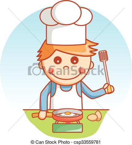 Kitchen clipart boy Vector and cooking illustration Clipart