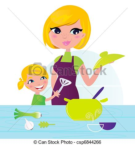 Baking clipart food preparation Healthy Vector child cooking kitchen