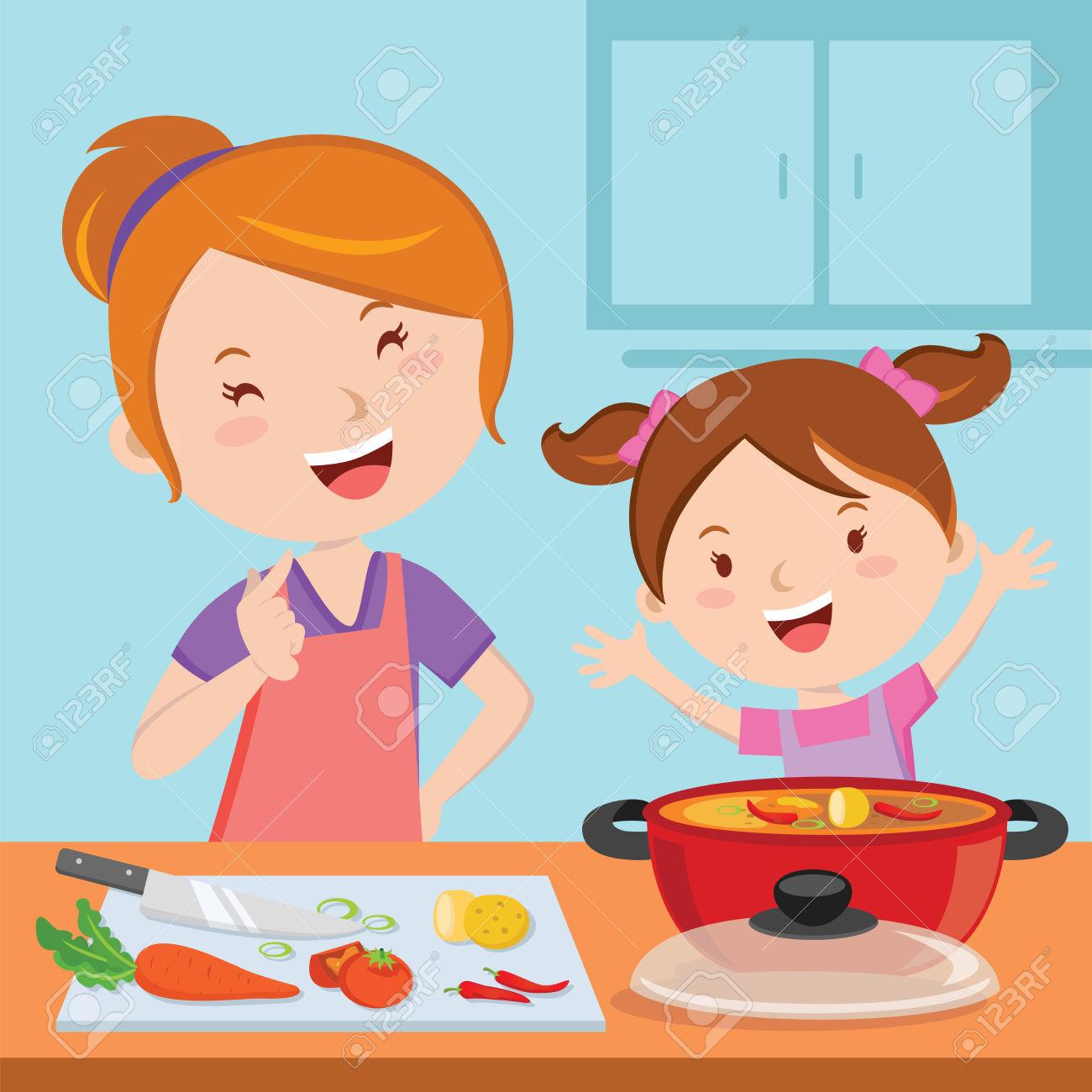 Kitchen clipart boy 213KB dinner kitchen 1300x1300 cartoon: