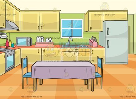 Kitchen clipart cartoon An With Dining Two Empty