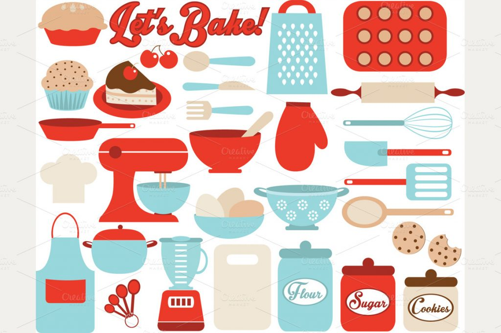 Baking clipart cooking utensil Art Border Baking Cartoon Clipart