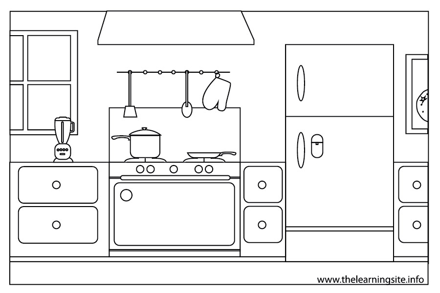 Kitchen clipart coloring The parts of clipartsgram