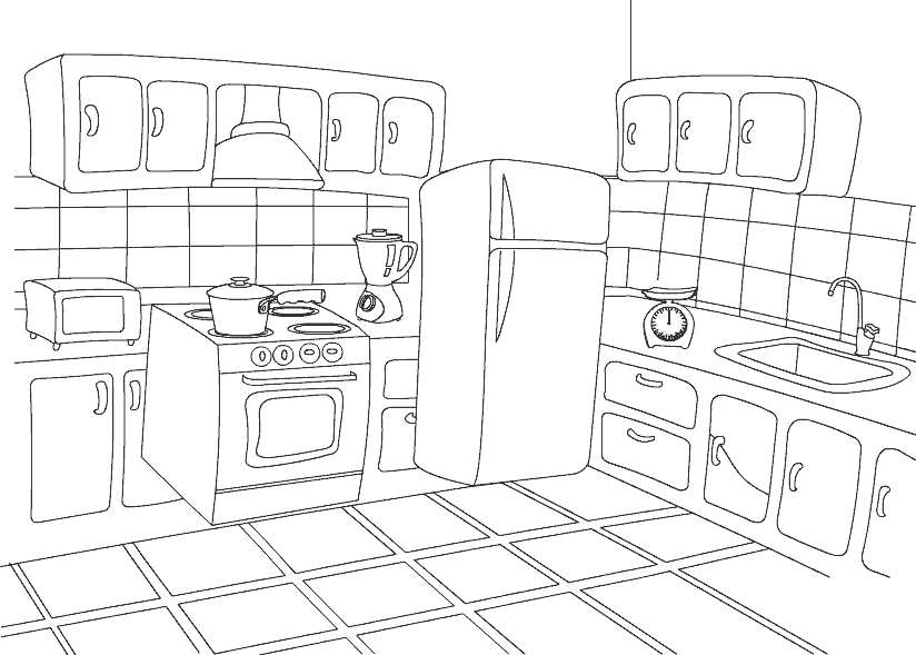Kitchen clipart coloring For a Kitchen Color Free
