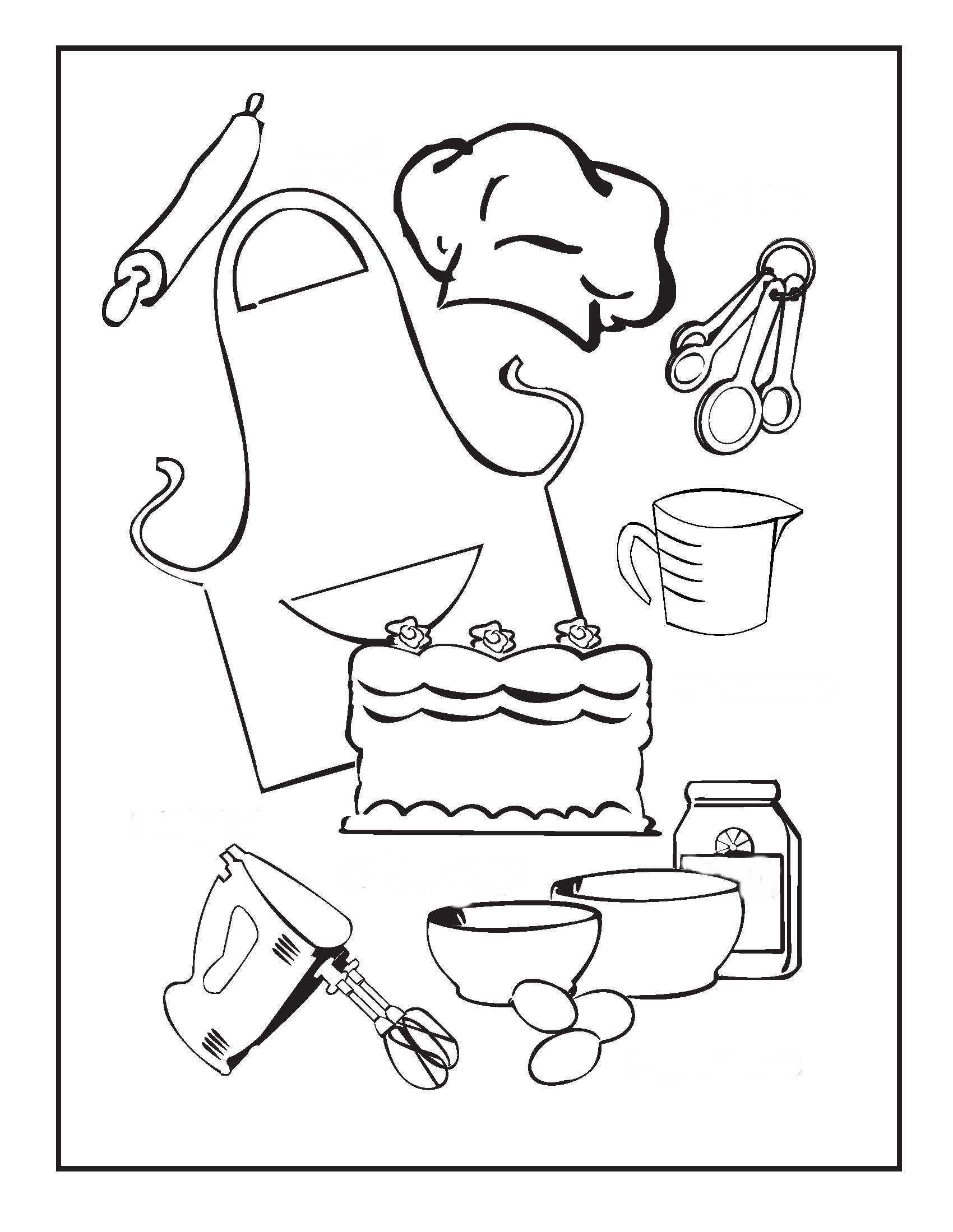 Kitchen clipart coloring Pages Page com Homely Design