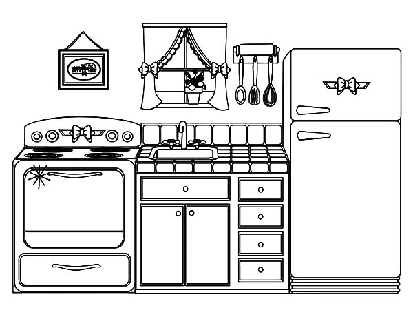 Kitchen clipart coloring Is Kitchen Page Coloring Page