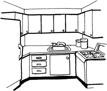 Kitchen clipart coloring Coloring page Children Pages free
