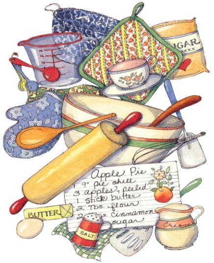 Kitchen clipart cookbook Book Art Cards & Receipe