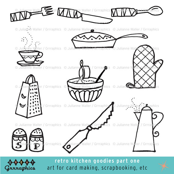 Cutlery clipart vintage kitchen Pots Black and Goodies and