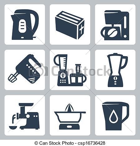 The Kitchen clipart vector art Appliances icons set appliances kitchen