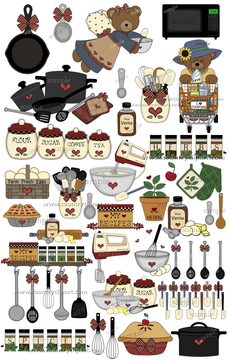 Country clipart country kitchen Country baking Clipart cooking Graphics