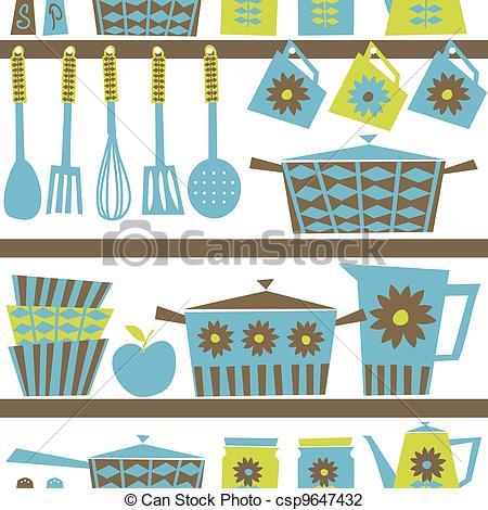 Kitchen clipart kitchen background Retro Kitchen Background Seamless Illustration