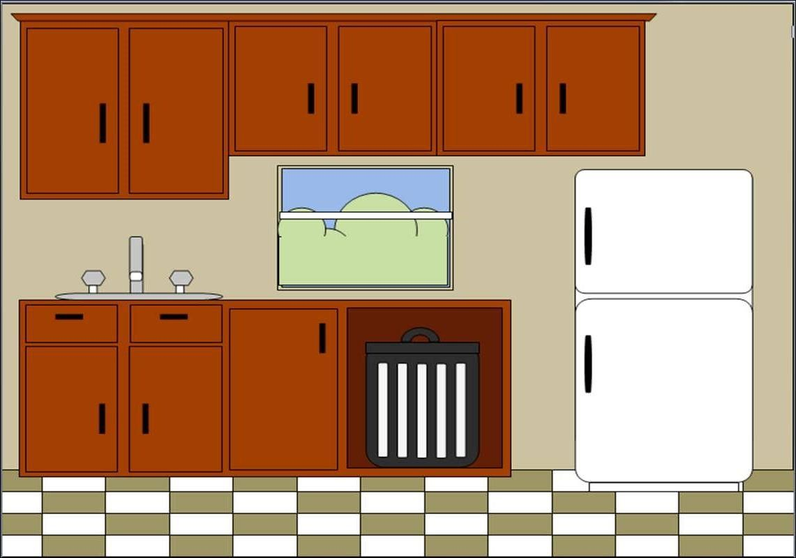 The Kitchen clipart kitchen cabinet Open Kitchen justcents Cartoon cabinet