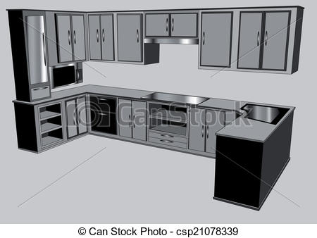 Kitchen clipart kitchen counter 1 kitchen 018 on gray
