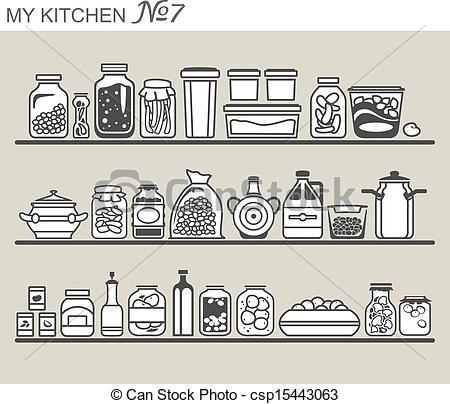 Kitchen clipart kitchen shelf Utensils  of Art csp15443063