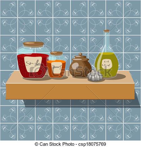 Kitchen clipart kitchen shelf Csp18075769 of Vector of