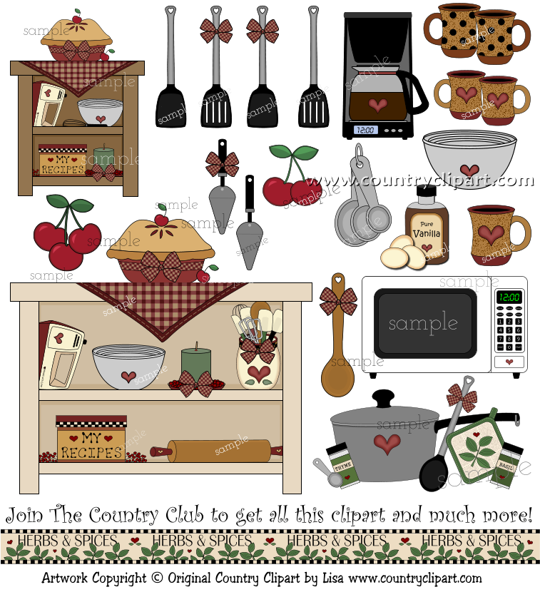 Country clipart country kitchen Clipart baking kitchen cooking Collection