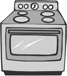 Gas Cooker clipart black and white #14