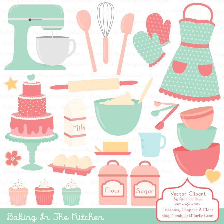 Baking clipart cute Kitchen Vectors Professional and Etsy