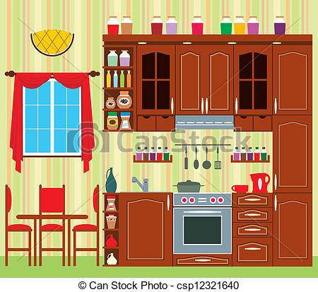 Kitchen clipart kitchen window With furniture Kitchen EPS kitchen