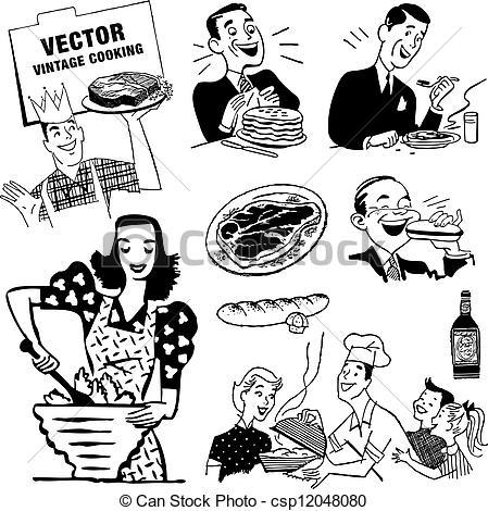 Kitchen clipart logo Vector or vintage Retro Graphics