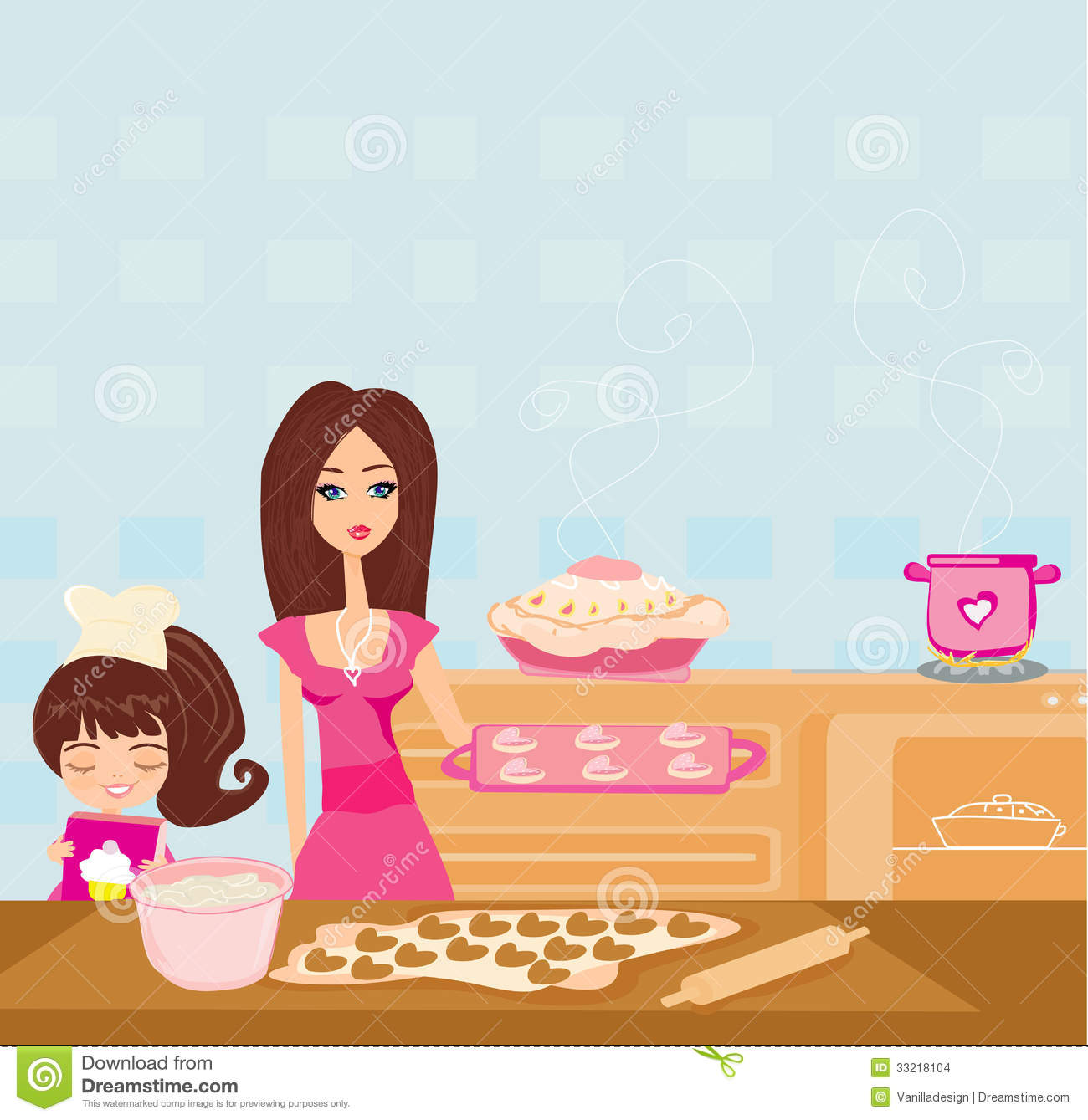 Baking clipart mother daughter The Kitchen Mother Mother kid