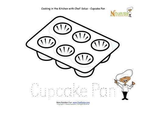 Kitchen clipart preschool Art Worksheet Tracing Clipartner Cupcake
