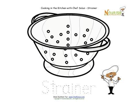 Kitchen clipart preschool Sheet Worksheet Tracing Strainer Worksheet
