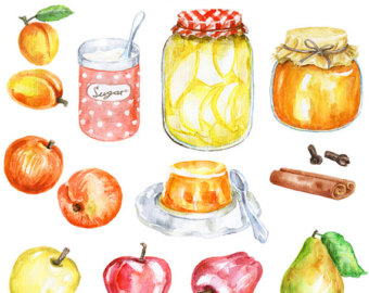 The Kitchen clipart preserves PNG digital Etsy watercolor Clipart