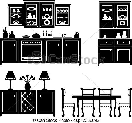 Kitchen clipart vector art Of Vectors csp12336092 of black