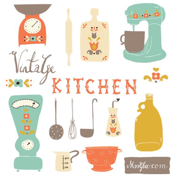 Kitchen clipart vintage kitchen Art Art Set Kitchen Vintage
