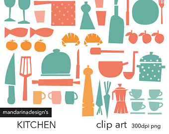 Kitchen clipart vintage kitchen Retro colors kitchen Kitchen Etsy