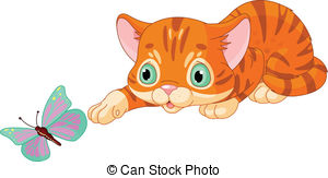 KITTENS clipart Illustrations with butterfly  24