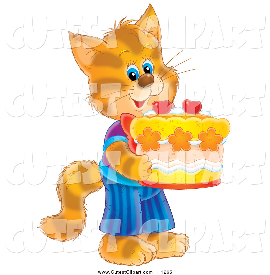Birthday clipart cat Its Clothes Standing In Striped