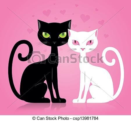 Black Cat clipart female cat Of Black  male cat