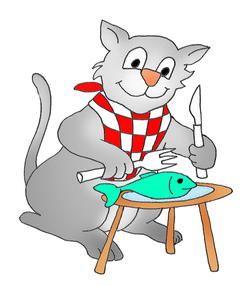 Sketch clipart cute cat Eating cat a fish Graphics
