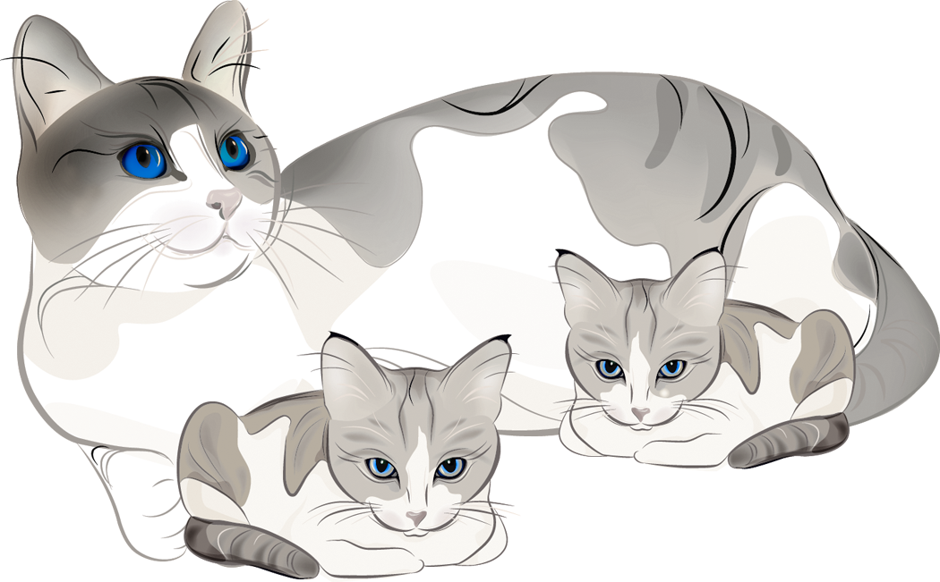 Cat clipart mother and baby Kittens Art and and Cats