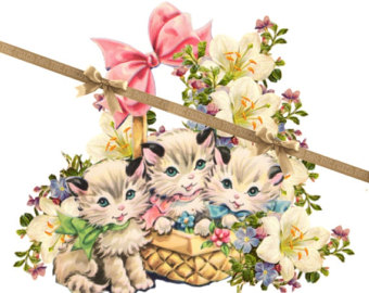 KITTENS clipart easter Background Violets Kittens Cute Periwinkles