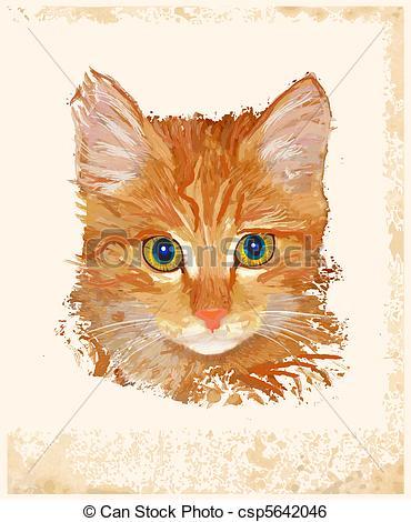 Ginger clipart vector Portrait Art of vintage Vector