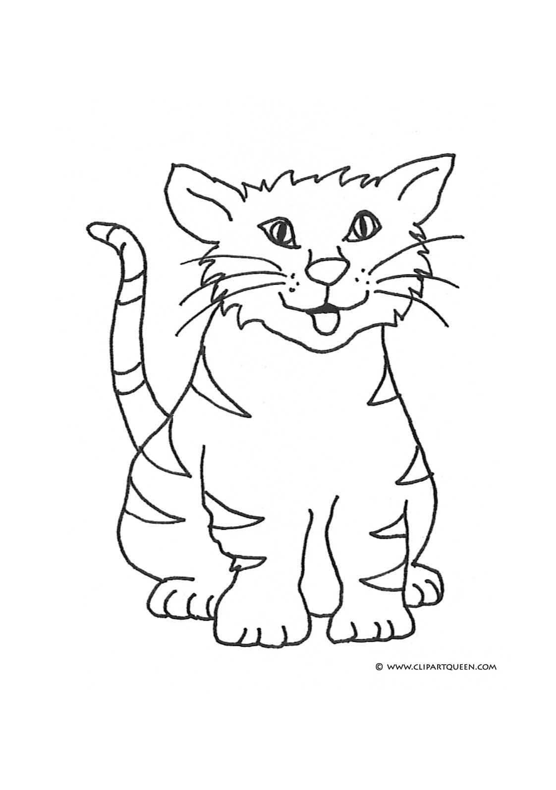Color clipart cat Coloring cat Pages happy tongue