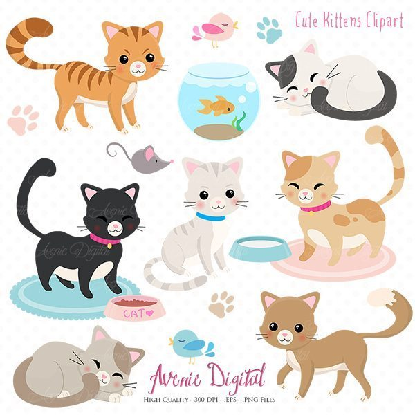 KITTENS clipart kawaii cat Clipart  png and set