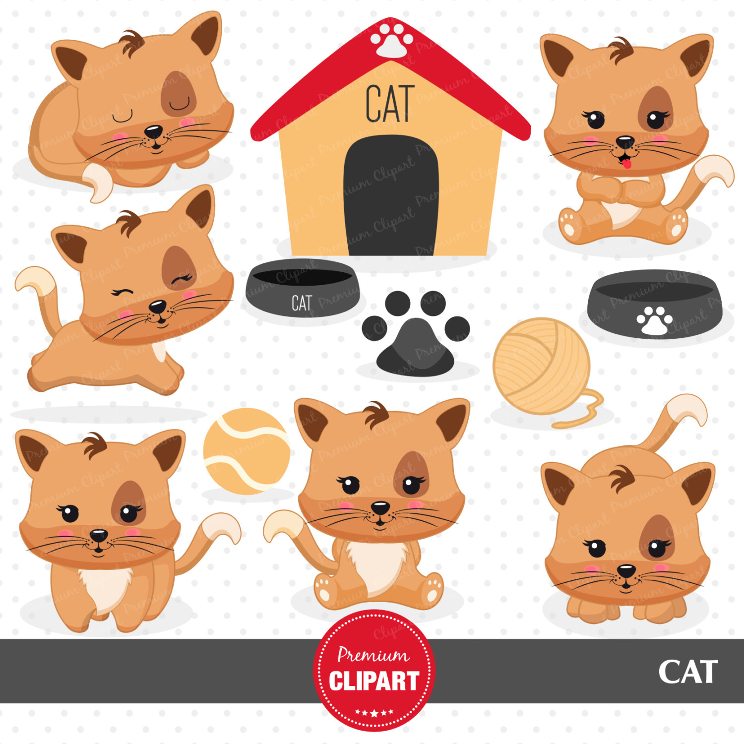 KITTENS clipart kawaii cat Commercial Cat clipart  clipart
