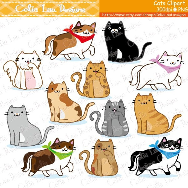 KITTENS clipart kawaii cat Clip cats clip Etsy kitty